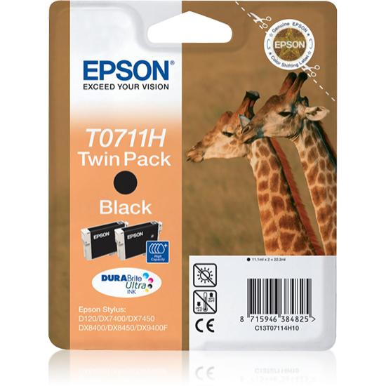 Epson Giraffe Doppelpack Schwarz T0711H Tintenpatronen DURABrite Ultra