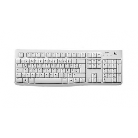 Logitech K120 Tastatur USB QWERTZ Deutsch Weiß