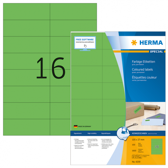 HERMA Farbige Etiketten A4 105x37 mm grün Papier matt 1600 St.