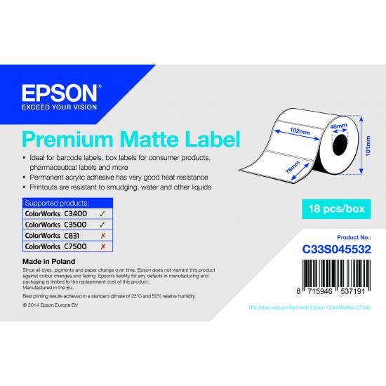 Epson Premium Matte Label - Die-cut Roll: 102mm x 76mm, 440 labels