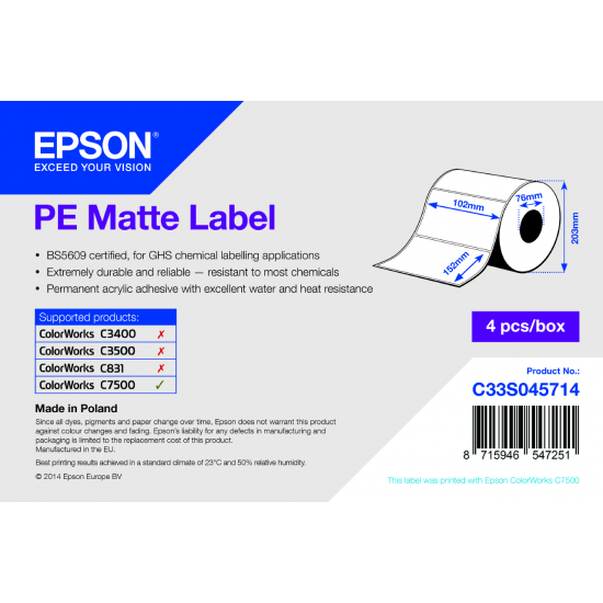 Epson PE Matte Label - Die-cut Roll: 102mm x 152mm, 800 labels