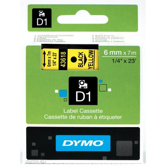 DYMO D1 - Standardetiketten - Schwarz auf Gelb - 6mm x 7m