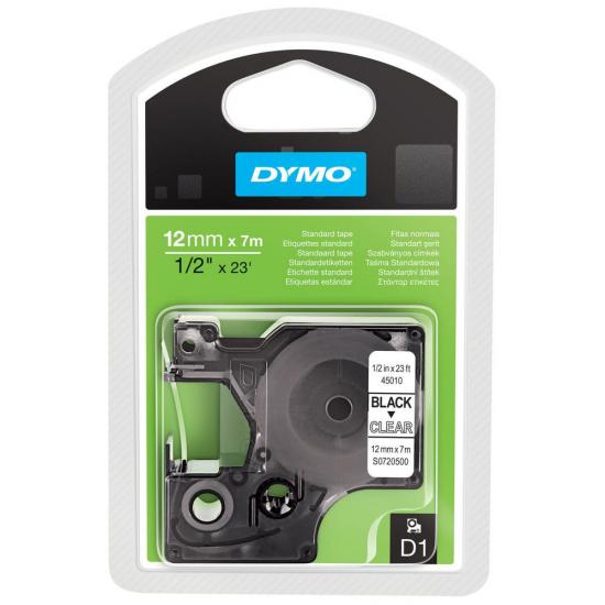 DYMO D1 - Standardetiketten - Schwarz auf Transparent - 12mm x 7m