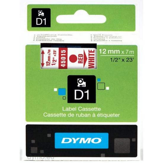 DYMO D1 - Standardetiketten - Rot auf Weiß - 12mm x 7m