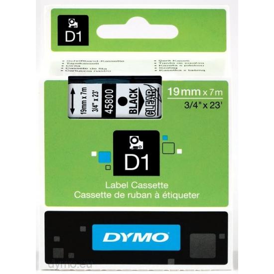 DYMO D1 - Standardetiketten - Schwarz auf Transparent - 19mm x 7m
