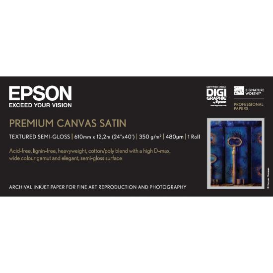 Epson Premium Canvas Satin, 24 Zoll x 12,2 m, 350 g/m²