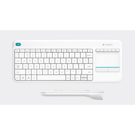Logitech K400 Plus Tastatur RF Wireless QWERTY Nordischer Raum Weiß