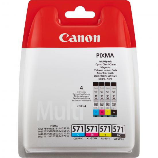 Canon CLI-571 Multipack Original Schwarz, Cyan, Magenta, Gelb 4 Stück(e)