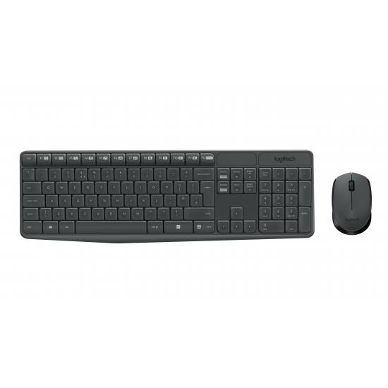 Logitech MK235 Tastatur RF Wireless QWERTZ Deutsch Grau