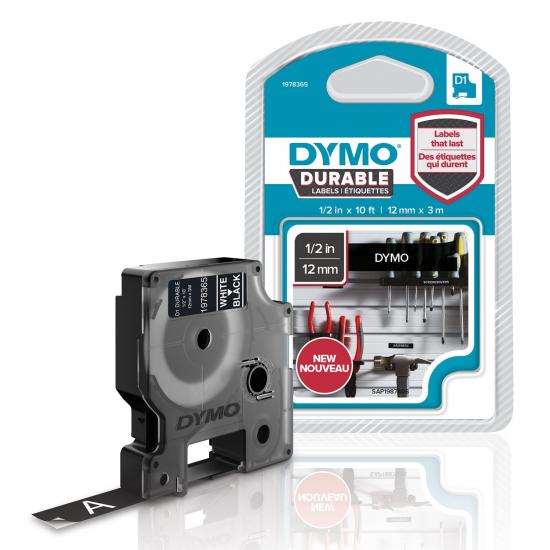 DYMO D1 - Hochleistungsetiketten - Weiß auf Schwarz - 12mm x 3m