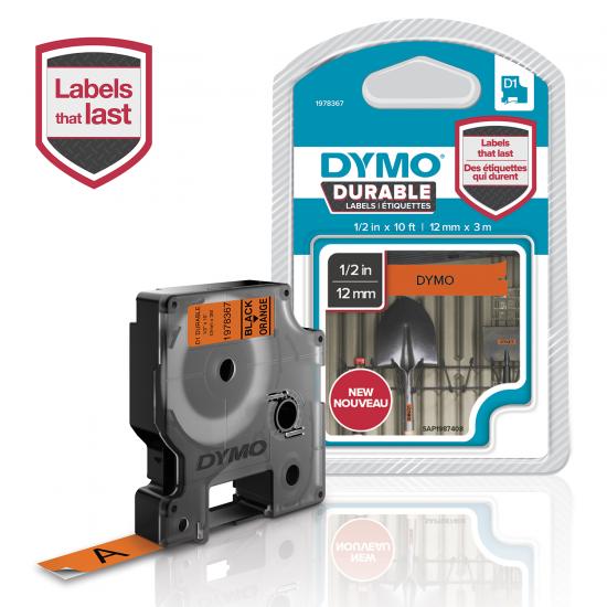 DYMO D1 - Hochleistungsetiketten - Weiß auf Orange - 12mm x 3m