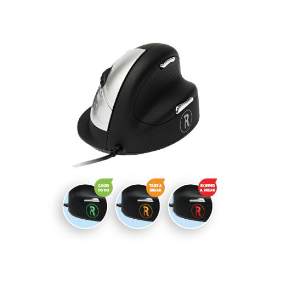 R-Go Tools R-Go HE Break Mouse, Ergonomische Maus, Anti-RSI-Software, Mittel (Handlänge 165-185mm), Rechtshändig, Kabelgebunden