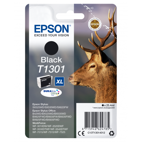 Epson Stag Singlepack Black T1301 DURABrite Ultra Ink