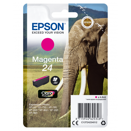Epson Elephant Singlepack Magenta 24 Claria Photo HD Ink