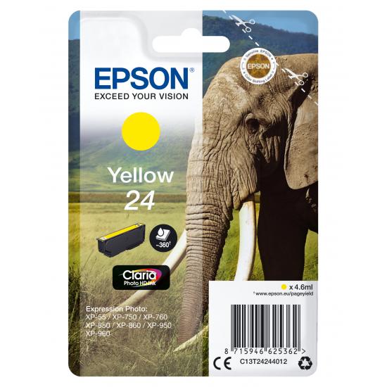 Epson Elephant Singlepack Yellow 24 Claria Photo HD Ink