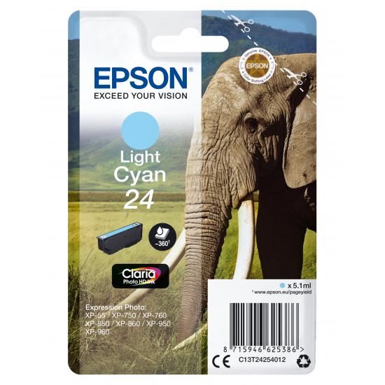 Epson Elephant Singlepack Light Cyan 24 Claria Photo HD Ink