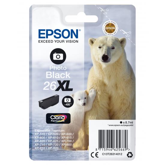 Epson Polar bear Singlepack Photo Black 26XL Claria Premium Ink