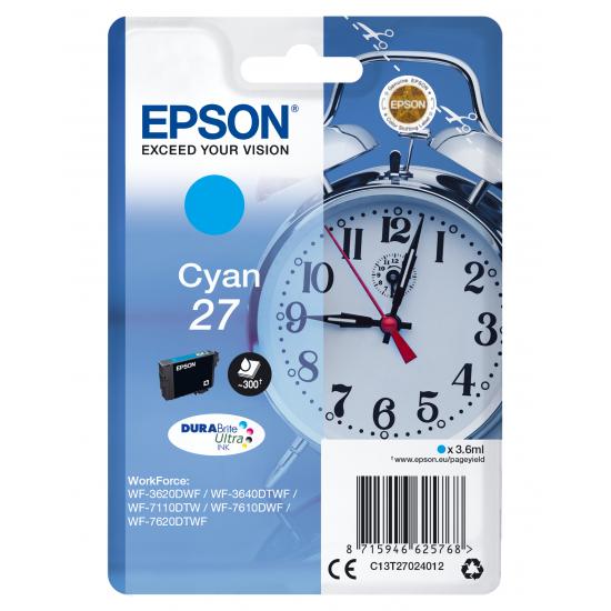 Epson Alarm clock Singlepack Cyan 27 DURABrite Ultra Ink