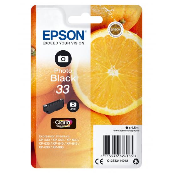 Epson Oranges Singlepack Photo Black 33 Claria Premium Ink
