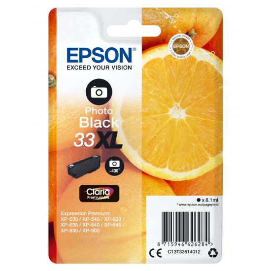 Epson Oranges Singlepack Photo Black 33XL Claria Premium Ink