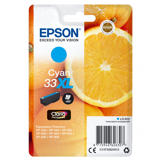 Epson Oranges Singlepack Cyan 33XL Claria Premium Ink