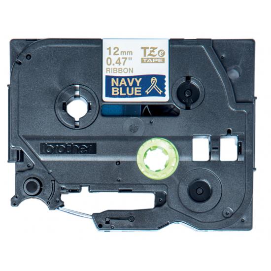 Brother TZE-RN34 Etiketten erstellendes Band Gold auf Marineblau