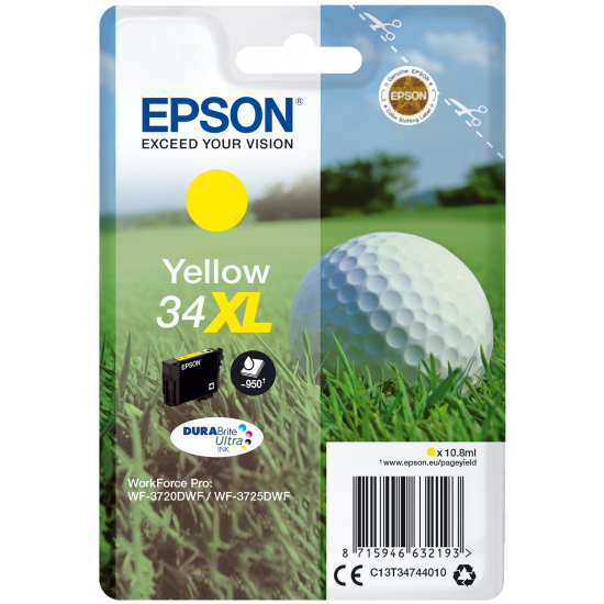 Epson Golf ball Singlepack Yellow 34XL DURABrite Ultra Ink