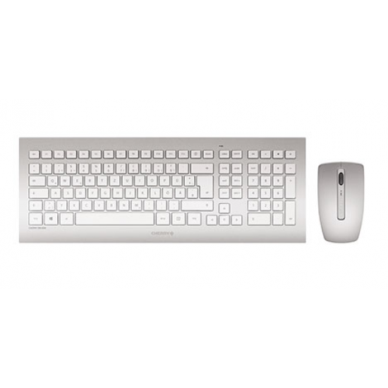 CHERRY DW 8000 Tastatur RF Wireless QWERTZ Deutsch Silber, Weiß