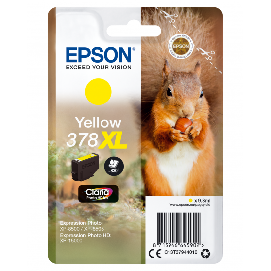 Epson Squirrel Singlepack Yellow 378XL Claria Photo HD Ink
