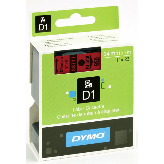 DYMO D1 - Standardetiketten - Schwarz auf Rot - 24mm x 7m