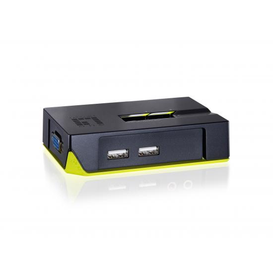 LevelOne KVM-0222 Tastatur/Video/Maus (KVM)-Switch Schwarz, Grün