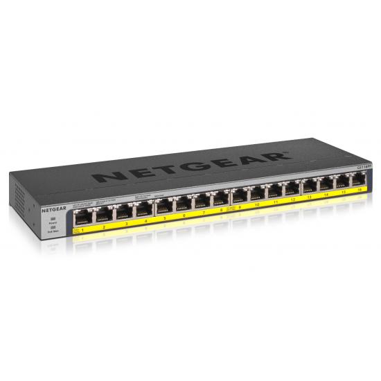 Netgear GS116PP Unmanaged Gigabit Ethernet (10/100/1000) Power over Ethernet (PoE) Schwarz