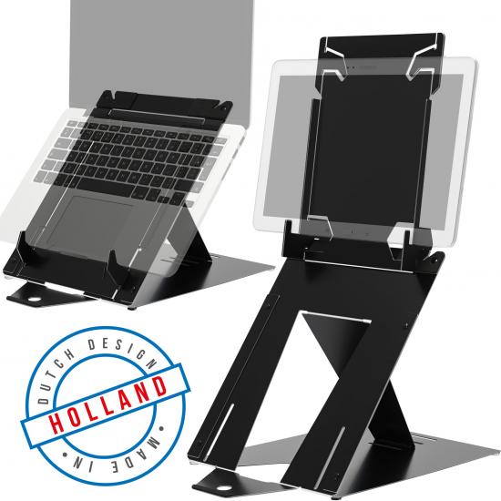 R-Go Tools R-Go Riser Duo, Tabletständer und Laptopständer, verstellbar, schwarz