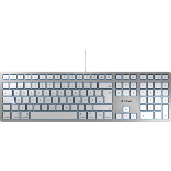 CHERRY KC 6000 SLIM FOR MAC Tastatur USB QWERTY UK Englisch Silber