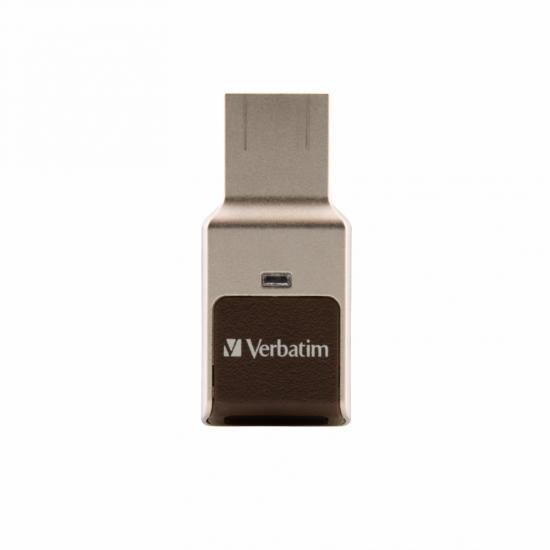 Verbatim FingerPrint Secure - USB 3.0-Stick 32 GB - Sicherer Datenspeicher mit Fingerabdruckscanner zum Schutz Ihrer Daten - Braun/Silber