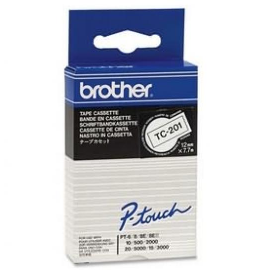 Brother TC-201 Etiketten erstellendes Band Schwarz auf weiss