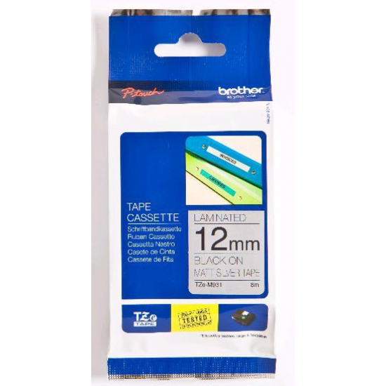 Brother TZe-M931 Etiketten erstellendes Band schwarz auf silber