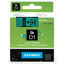 DYMO D1 - Standardetiketten - Schwarz auf Grün - 12mm x 7m