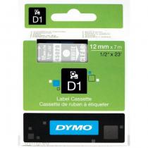 DYMO D1 - Standardetiketten - Weiß auf Transparent - 12mm x 7m