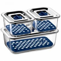 WMF 06.5424.9999 Lebensmittelaufbewahrungsbehälter Box Rechteckig Blau, Edelstahl, Transparent 3 Stück(e)