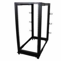 StarTech.com 25HE 4 Pfosten Open Frame Server Rack tiefenverstellbar mit Rollen / Nivellierfüße und Kabelverwaltung