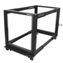 StarTech.com 12HE 4 Pfosten Open Frame Server Rack tiefenverstellbar mit Rollen / Nivellierfüße und Kabelverwaltung