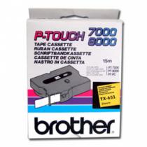 Brother TX-651 Etiketten erstellendes Band Schwarz auf gelb