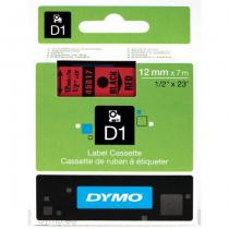 DYMO D1 - Standardetiketten - Schwarz auf Rot - 12mm x 7m