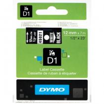 DYMO D1 - Standardetiketten - Weiß auf Schwarz - 12mm x 7m