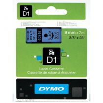 DYMO D1 - Standardetiketten - Schwarz auf Blau - 9mm x 7m