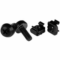 StarTech.com M6 x 12mm - Schrauben und Käfigmuttern - 100er Pack - Schwarz