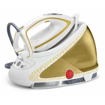Tefal Pro Express Ultimate Care GV9581 Dampfbügelstation 260 W 1,9 l Durilium Selbstreinigende Grundplatte Gold, Weiß