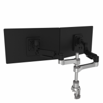 R-Go Tools R-Go Caparo 4 D2, nachhaltiger Doppel Monitor Arm, Tischhalterung, Gasdruckfeder, 3-9 kg Tragkraft, schwarz/silber, geringer CO2 Fußabdruck