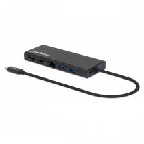 Manhattan USB 3.2 Gen 1 USB-C auf Dual-HDMI Multiport-Adapter, USB-C-Stecker auf zwei HDMI-Buchsen (bis zu 4K@30Hz), zwei USB-A-Ports, USB-C Power Delivery-Port und Gigabit RJ45-Port, Aluminium, schwarz